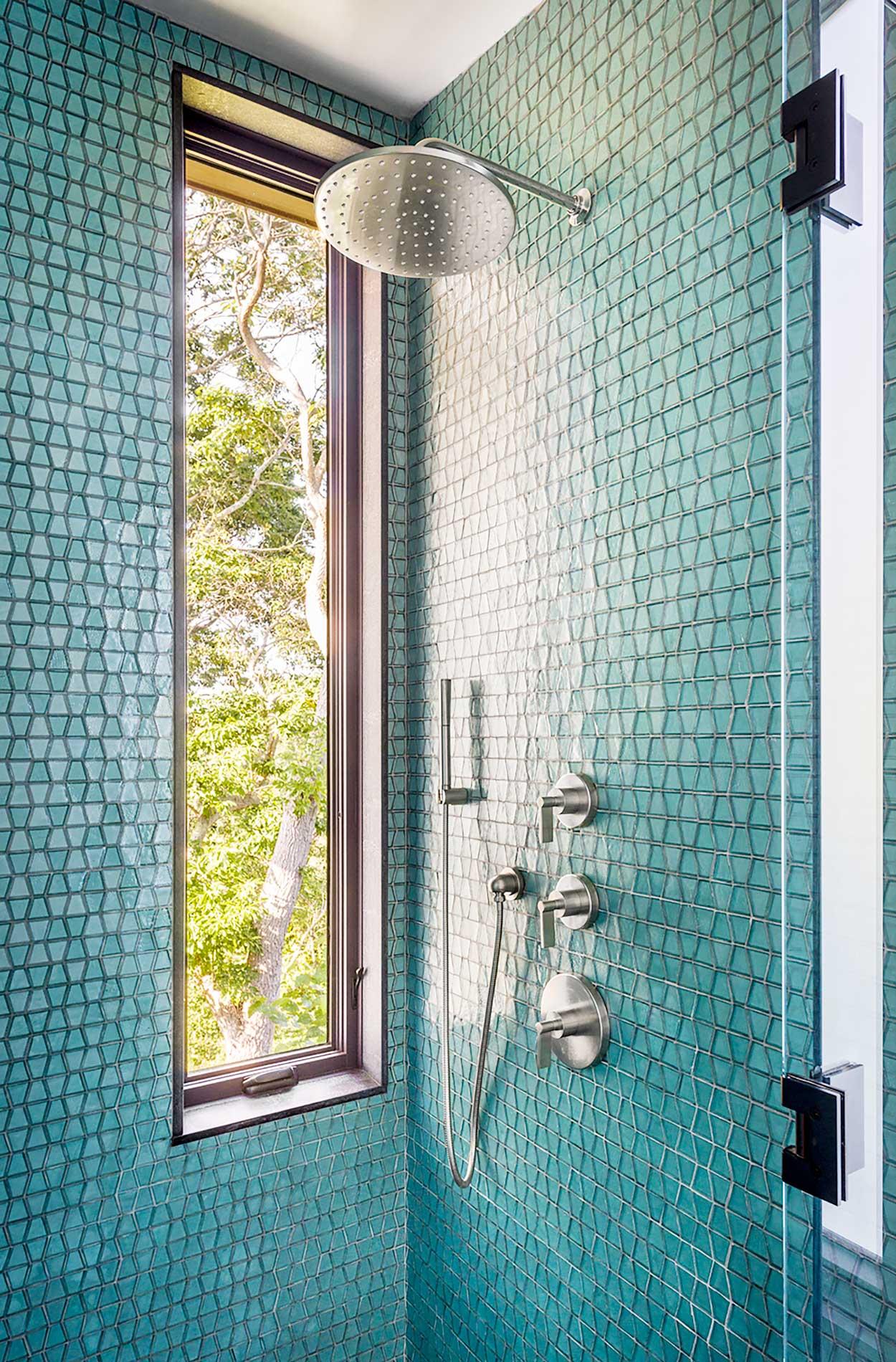 Custom Blue Tile in Bathroom Shower